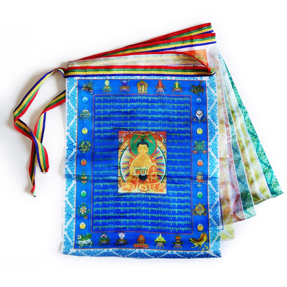 Religious Tibetan Prayer Flag Set High Quality Polyester Made In Nepal 3 Packet
