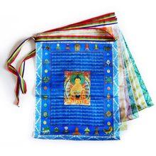 Bandeiras budistas tibetanas da oração, sutra streamer, contêm 10 bandeiras, bandeira decorativa do estilo do tibete, comprimento total de 3 metros, padrão claro