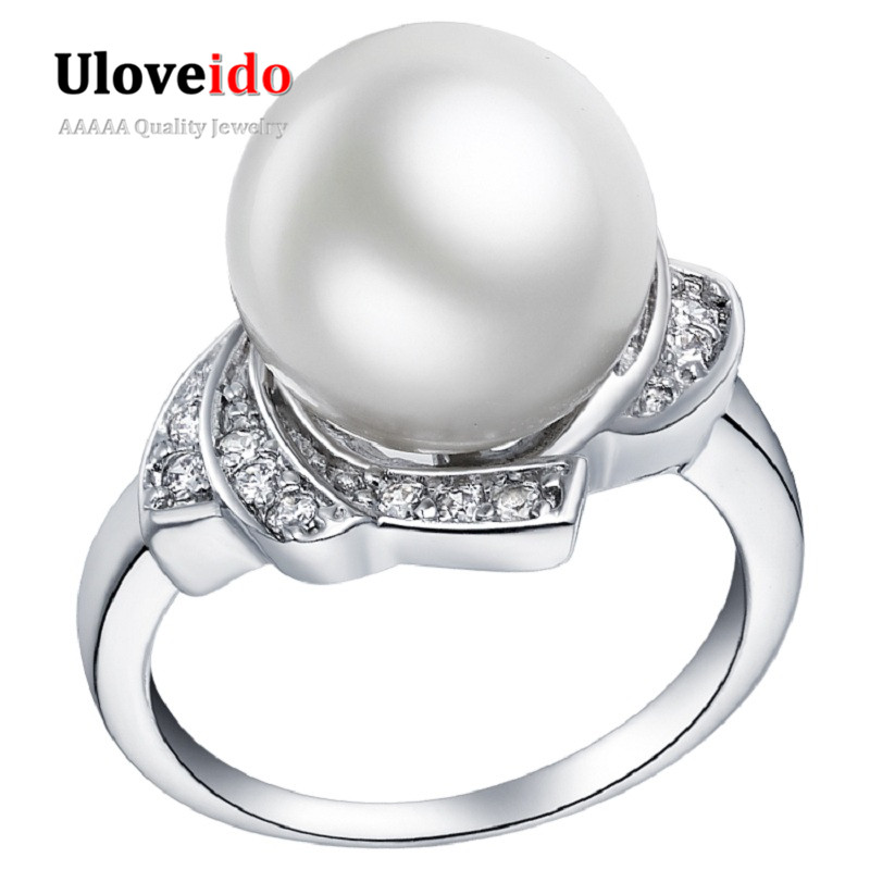 40% off Engagement Rings for Women Simulated Pearl Silver Color Wedding Jewellery Bague Womens Birthday Gift Ringen Sale J383 ...