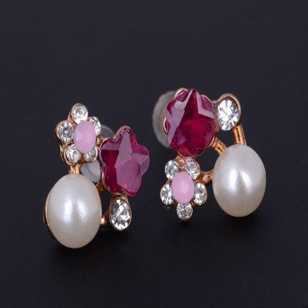 Fashion Jewelry-Suoguan Store Women Alloy Crystal Pearl Flower Stud Earring Purple Crystal Rhinestone Pearl Flower Earrings Ear Stud Lady Charm Jewelry