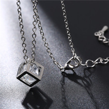 цена на New square Crystal Love Magic Cube Square Shape Pendant charm Necklace Geometric polygon necklace For Women Wedding Gift jewelry