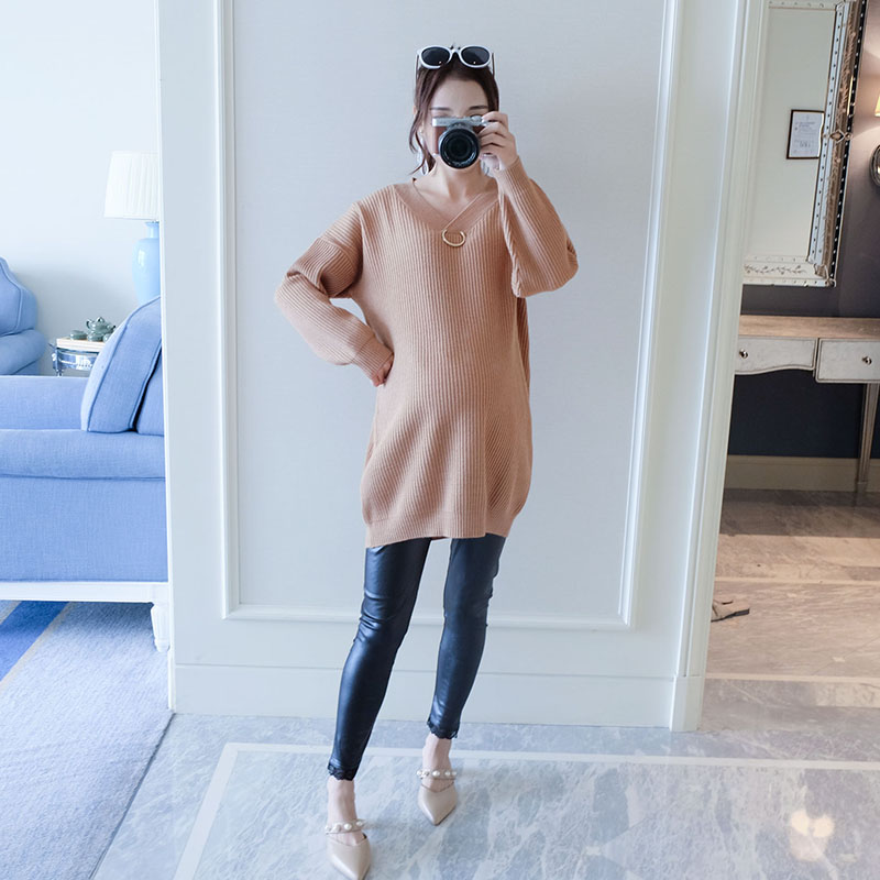 2018 summer v neck elastic knitted maternity dress long sleeve clothes for pregnant women clothing for pregnancy