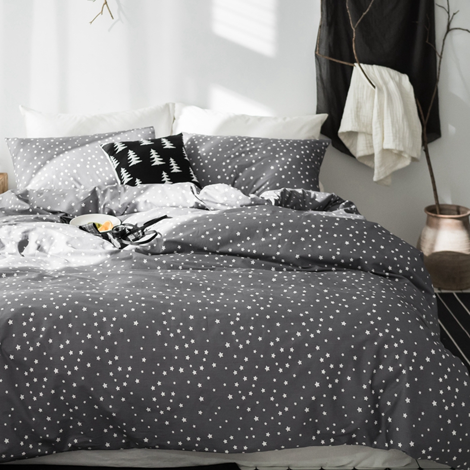 Dark Grey Stars Printed Duvet Cover Set Twin Queen King Size Bedding Sets Stripes Bed Sheet/Coverlet Pillow Case Twin Queen King