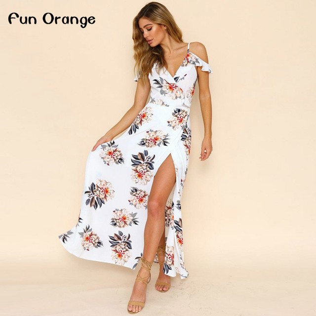 6bdd0d914bc8 Fun Orange Floral Print Ruffles Chiffon Dress Women Strap V Neck Split  Beach Summer Dress Sexy Backless Maxi Dresses Vestidos