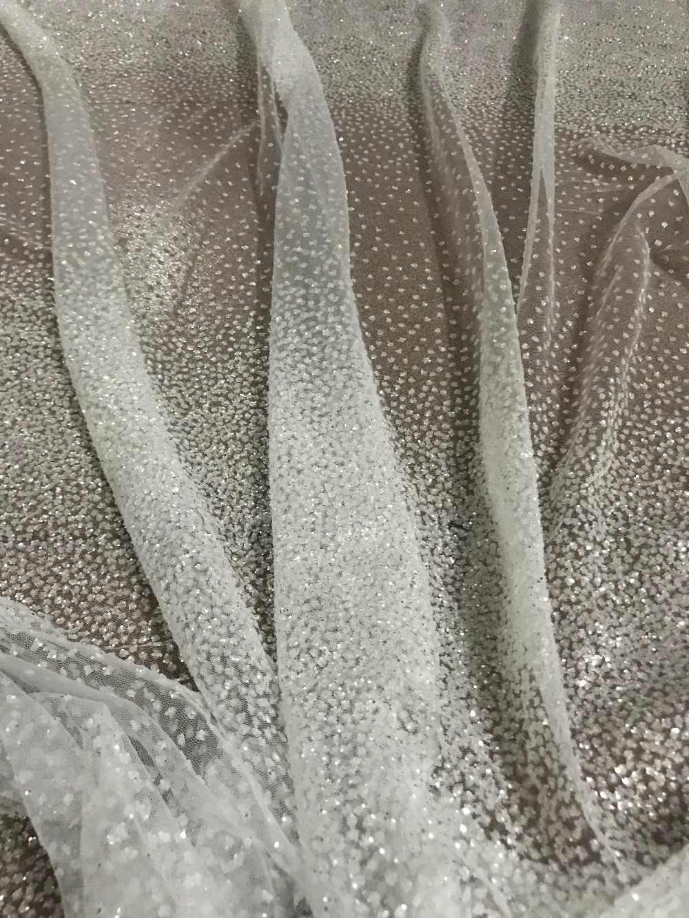 5 yards örgü tül el baskı glitter dantel kumaş beyaz renk S-11149 için düğün elbisesi/gece elbisesi/parti