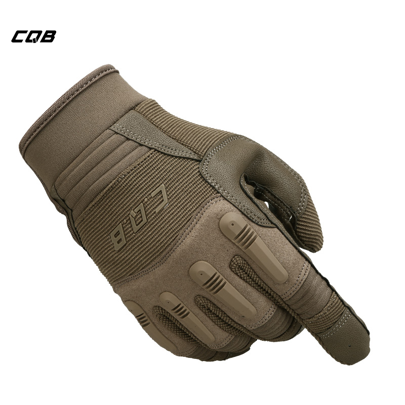 CQB Outdoor Camping Tactical Military Full Finger Fitness Gloves Non-slip Protect Workout Motorcycle Gloves for Hiking Cycling esdy hyxl 1 anti slip outdoor cycling climbing full finger pu tactical gloves black xl pair