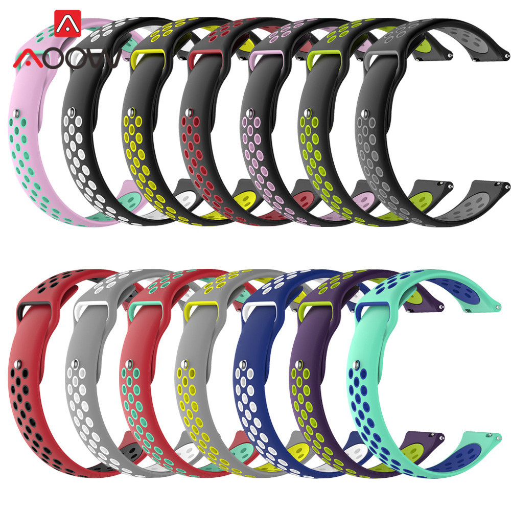 18mm 20mm 22mm Soft Silicone Watchband For Samsung Galaxy Watch 42mm 46mm Sport Bracelet Band Strap For Gear S2 S3 Huami Amazfit