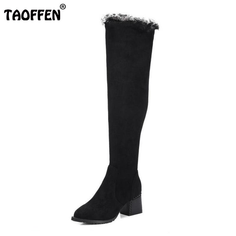цены на TAOFFEN Size 33-41 Warm Real Leather Winter Shoes Women Thick High Heel Over Knee Snow Boots Women Zip Pointed Toe Elastic Bota в интернет-магазинах