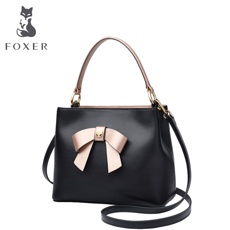 FOXER Women Handbags Elegant Bow Totes Female Cow Leather Crossbody Shoulder Bags New Fashion Design Lady