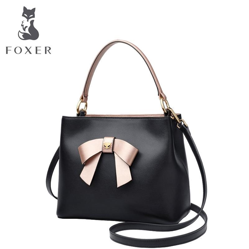 FOXER Women Handbags Elegant Bow Totes Female Cow Leather Crossbody Shoulder Bags New Fashion Design Lady