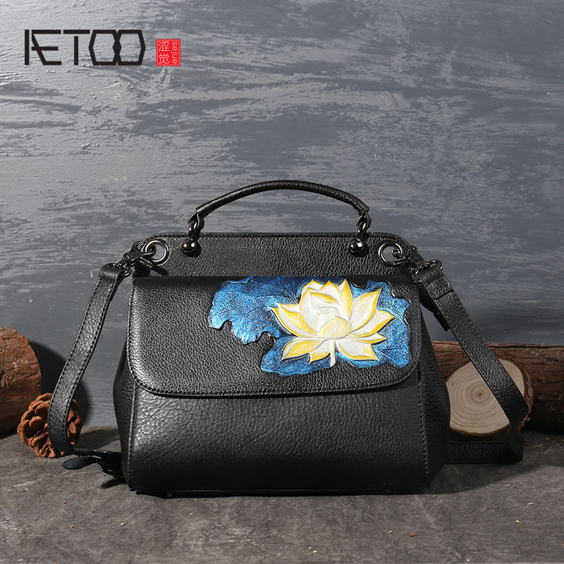 AETOO New high-end ladies zipper shoulder Messenger bag leather hand-painted leather bale women