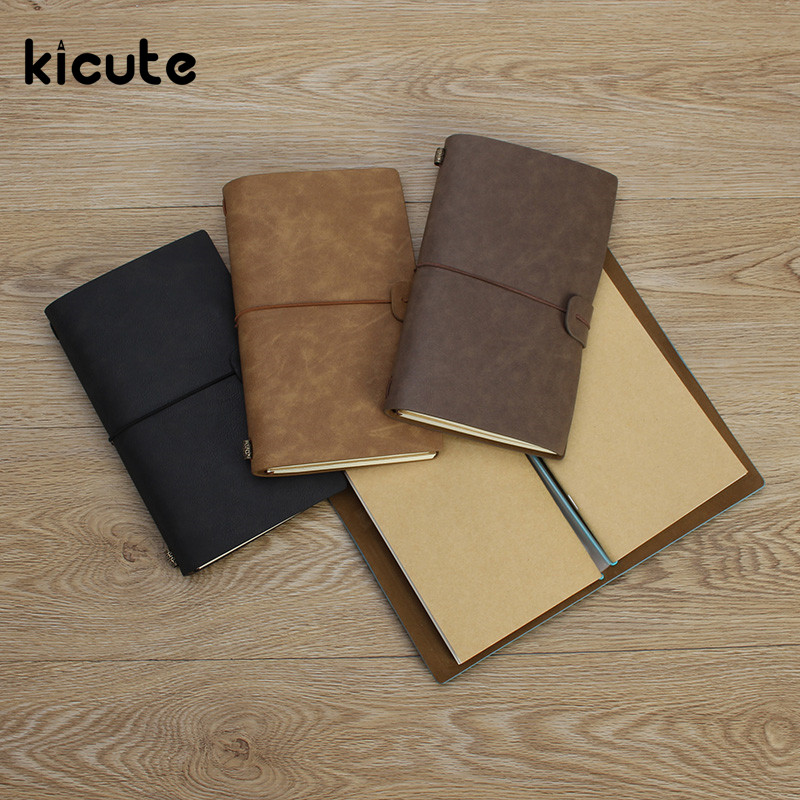 цена Kicute Vintage Blank Kraft Paper Diary Leather Cover Notebooks Journals Agenda Sketchbook Handmade Travel Notebook Gift