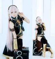 Anime! Vocaloid Megurine Luka Uniform Black Cosplay Costume For Women coat+skirt+accessories Free Shipping