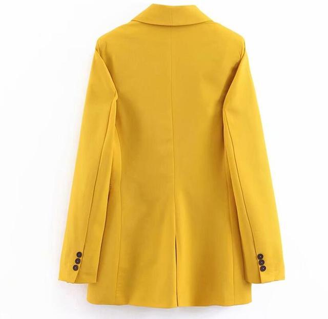 2019 femmes Double boutonnage Long Blazers bureau dame petit costume veste dames loisirs jaune Blazer lâche manteau Streetwear 3