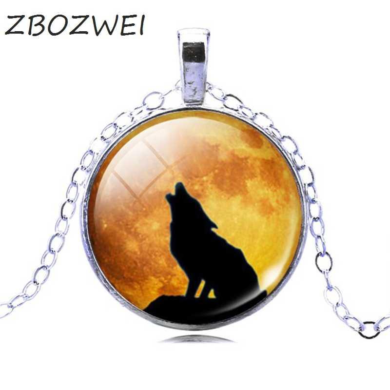Zbozwei Màu Bạc Mặt Dây Chuyền Vòng Cổ Vintage Teen Wolf Hình Kính Cabochon Tuyên Bố Dây Chuyền Vòng Cổ Phong Cách Mùa Hè Trang Sức