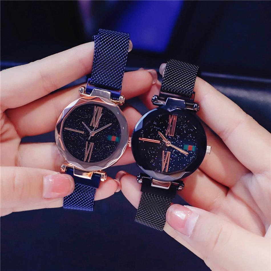 Starry Sky Designer Women's Watches Magnetic Stainless Steel Mesh Strap Ladies Wrist Watches New zegarek damski relogio feminino 3
