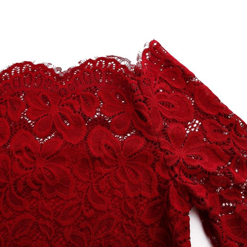 HTB1ZLnnLpXXXXbLapXXq6xXFXXXr - Spring Sexy Women Blusas Off Shoulder Slash Neck Lace Solid Shirts