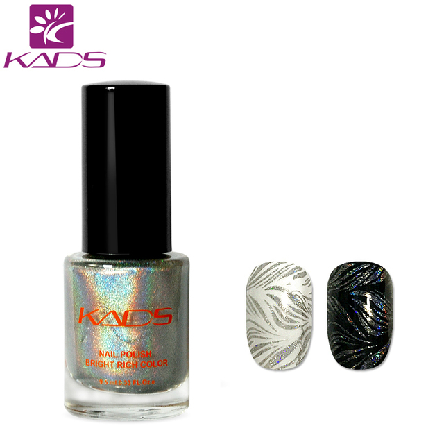 KADS New 9.5ml Two in one Nail Polish & stamp polish Laser silver ...