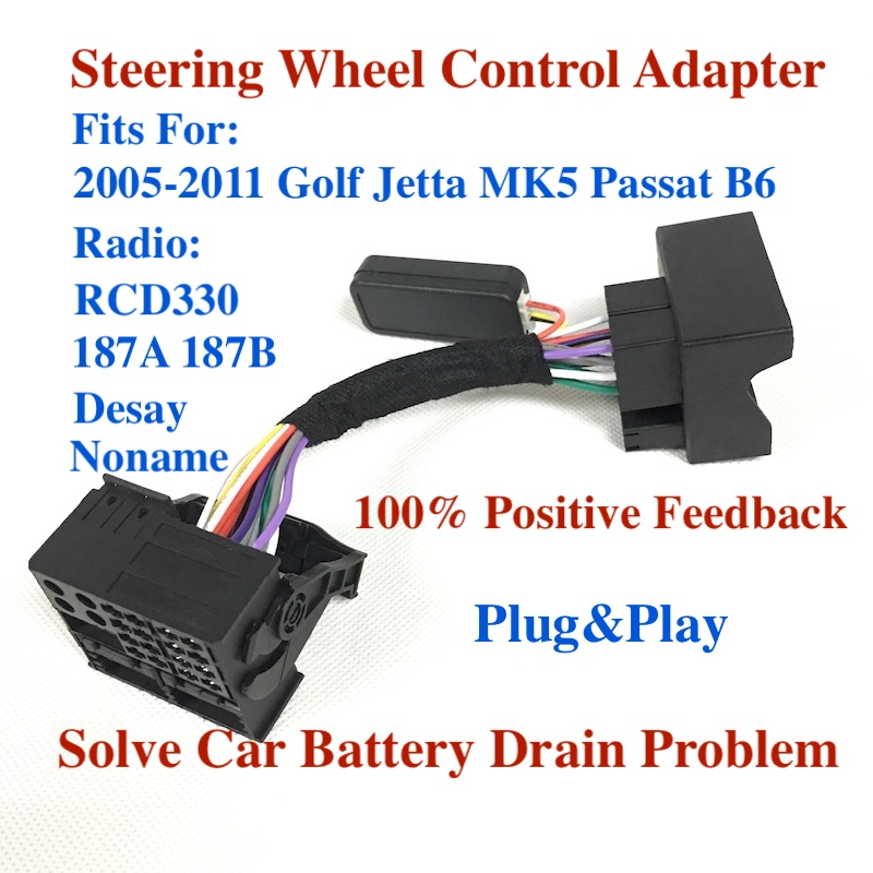 Bodenla Rcd330 Mib Rcd510 Multifunction Steering Wheel Button Management Simulator Adapter For Vw Golf 5 6 Jetta Mk5 Touran Caddy