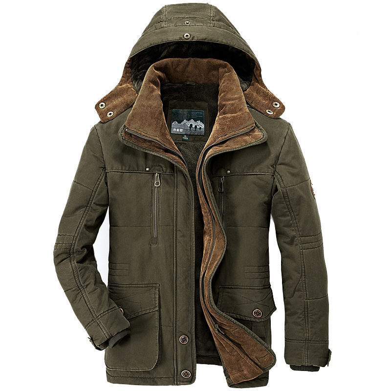 06cfa12a3 US $47.5 50% OFF|Winter Jacket Men Thickening Hooded Coat Military Cotton  Padded Jacket Men Overcoat Warm Fleece With Fur Parka Men Plus Size 6XL-in  ...