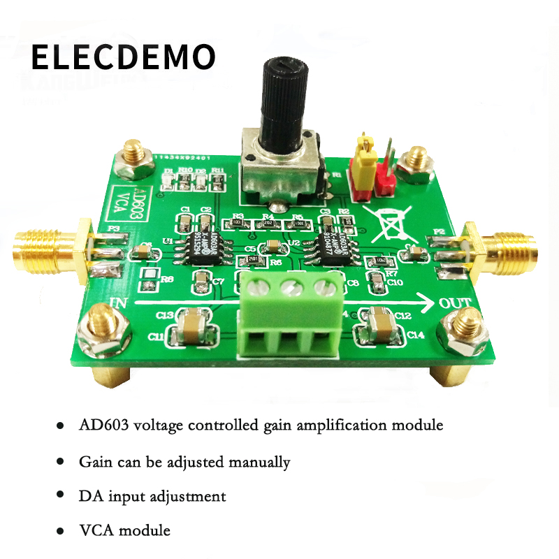 AD603 Variable Gain Amplifier Module Voltage Amplifier Voltage Control Adjustable VCA Race Module 80dB-in Demo Board Accessories from Computer & Office