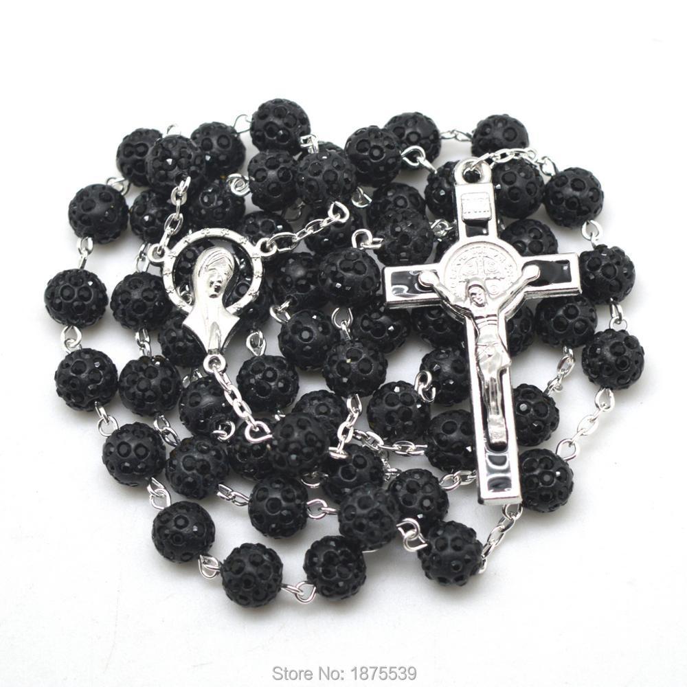 Black Clay Bead Rosary Necklace Saint Benedict Crucifix