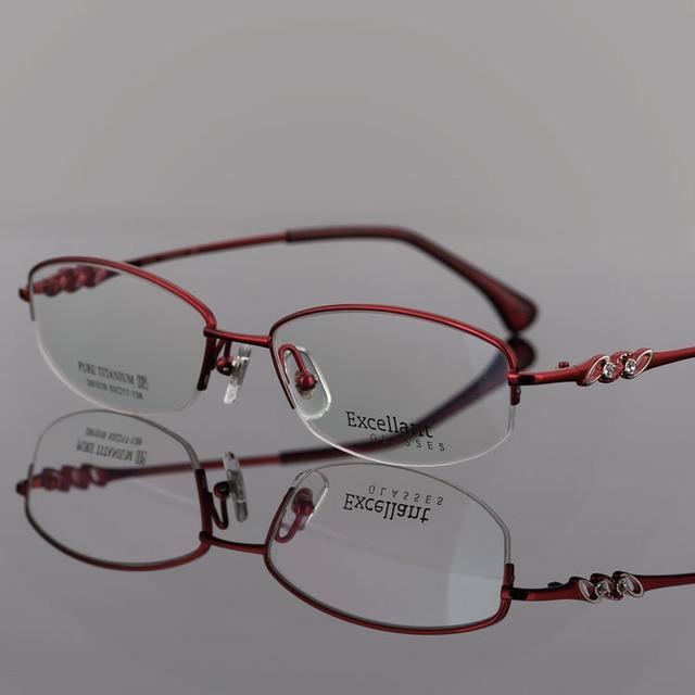 Fashion Exceed Light Pure Titanium Woman Fund Glasses Business Affairs Half Myopia Glasses Alcohol Pure Titanium D 81519