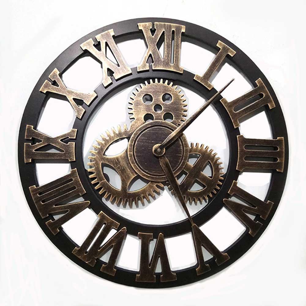 14 Inch 3D Vogue Gear Clock Retro Roman Digital Round Art Wall Clock Home Decoration Copper Clock