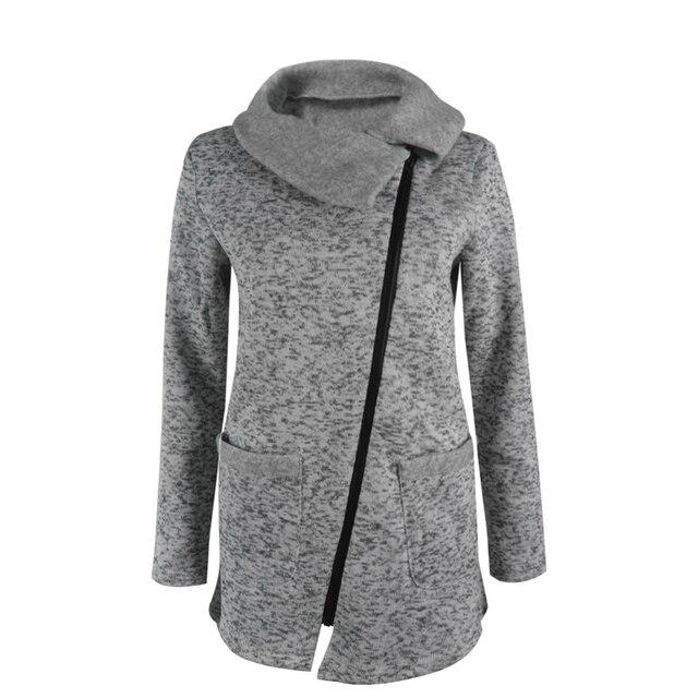 Women Autumn Winter Clothes Warm Fleece Jacket Slant Zipper Collared