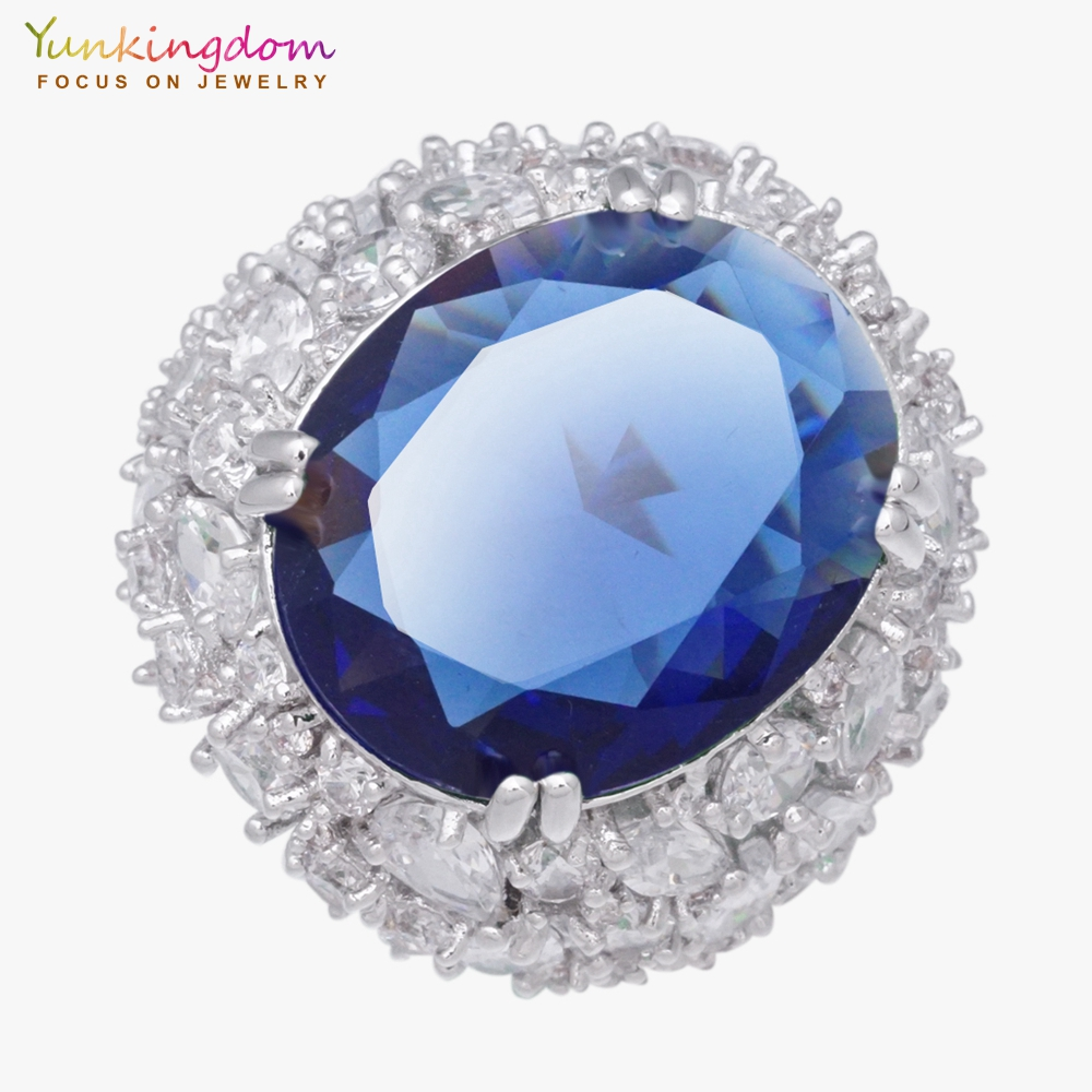 Yunkingdom 31MM Blue Cubic Zirconia Fine Rings For Women Ladies Inlay Clear Crystal Wedding Party Jewelry