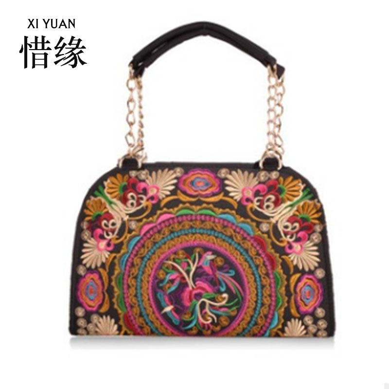 XIYUAN BRAND chinese canvas vintage small shell bag fashion flower embroidery embroideried shoulder bags women hand bags