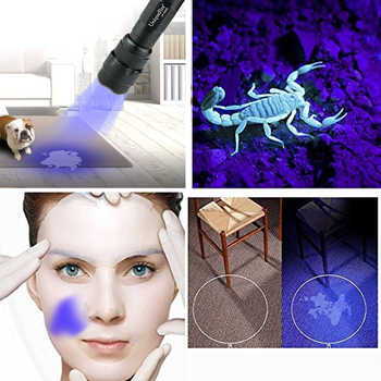 UniqueFire WF-502B-UV 365-370NM UV Single File Flashlight For Pets Urine And Stains Detector Ultraviolet Lamp Torch
