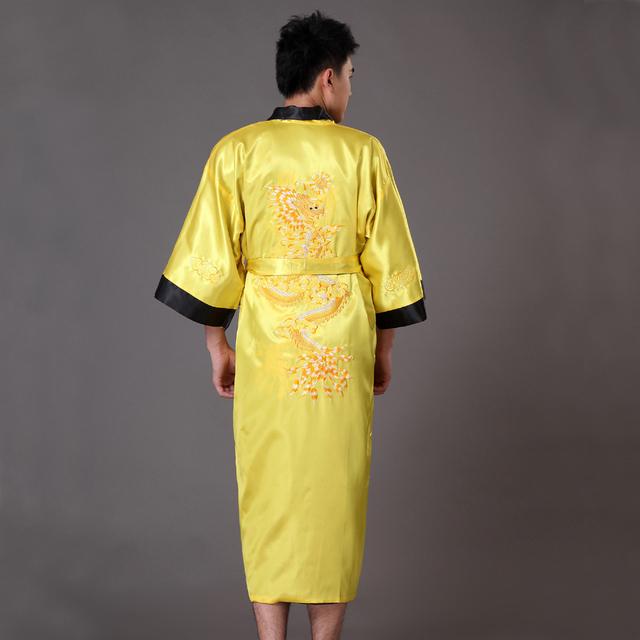 Ouro Preto Reversíveis homens Chineses de Cetim Bordado Robe Dragão Kimono Bath vestido Two Side Pijamas S M L XL XXL XXXL MP044