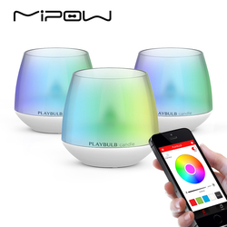 MIPOW Pack of 3 PLAYBULB Smart Lights LED Bulb Dimmable Multicolor RGB Wake-Up Wireless Bluetooth with Remote APP Control