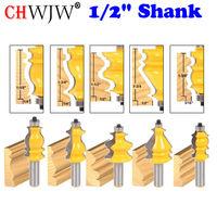 5 Bit Casing & Base Molding Router Bit Set 1/2 Shank CNC Line knife Woodworking cutter Tenon Cutter for Woodworking Tools