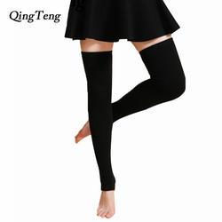 QingTeng кашемир колена теплее супер длинные зимние сапоги до колена гетры трикотажные над гольфы Для женщин однотонные обтягивающие чулки