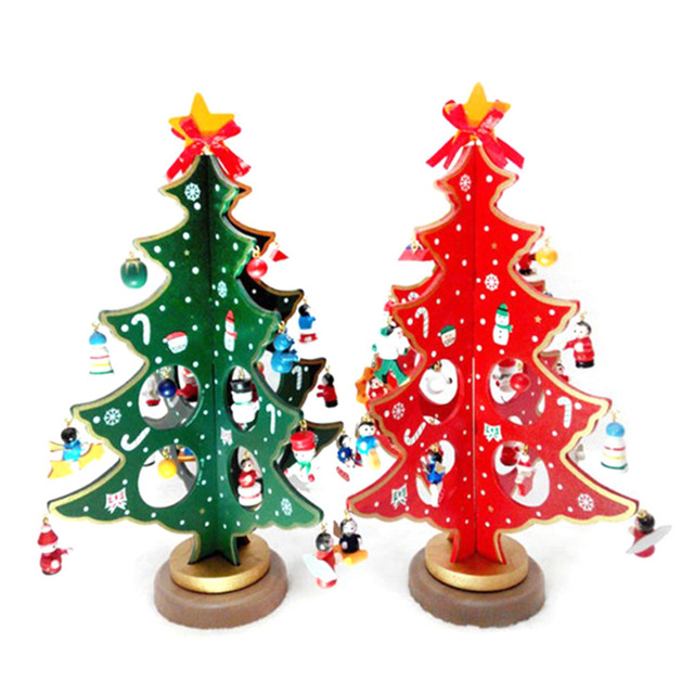 2018 merry christmas 3d diy wooden christmas tree decorations xmas gift ornament table desk decoration home