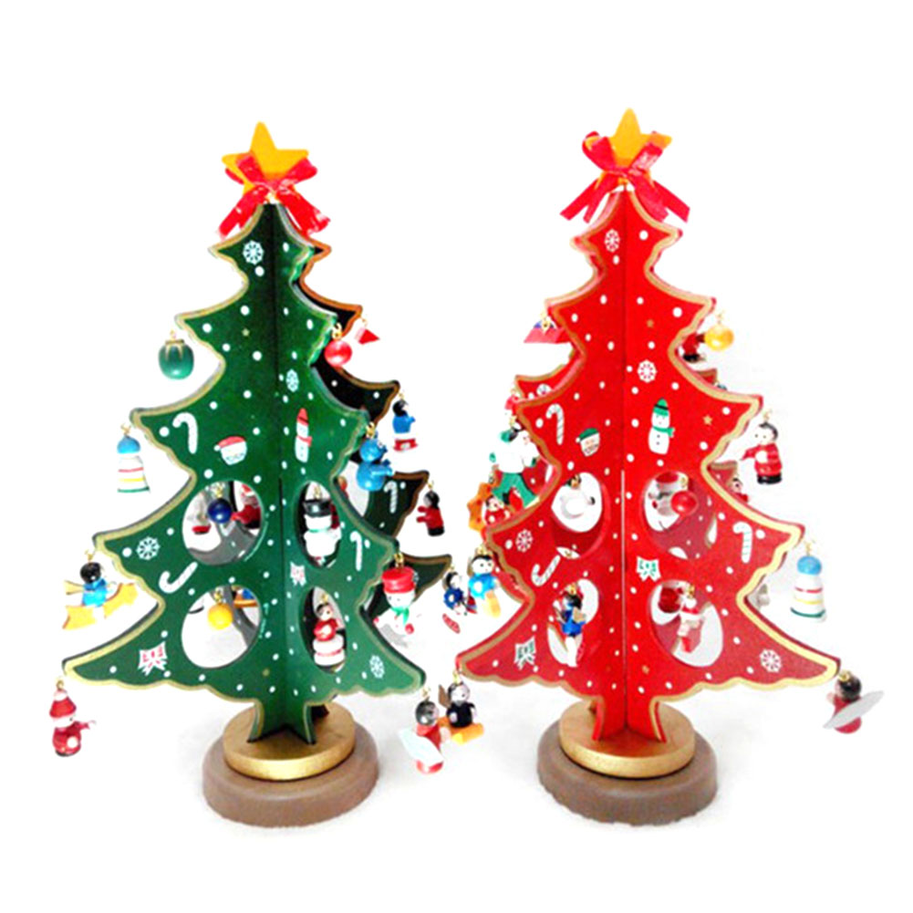 2018 Merry Christmas 3D DIY Wooden Christmas Tree Decorations Xmas Gift Ornament Table Desk Decoration Home Party Wedding Decor