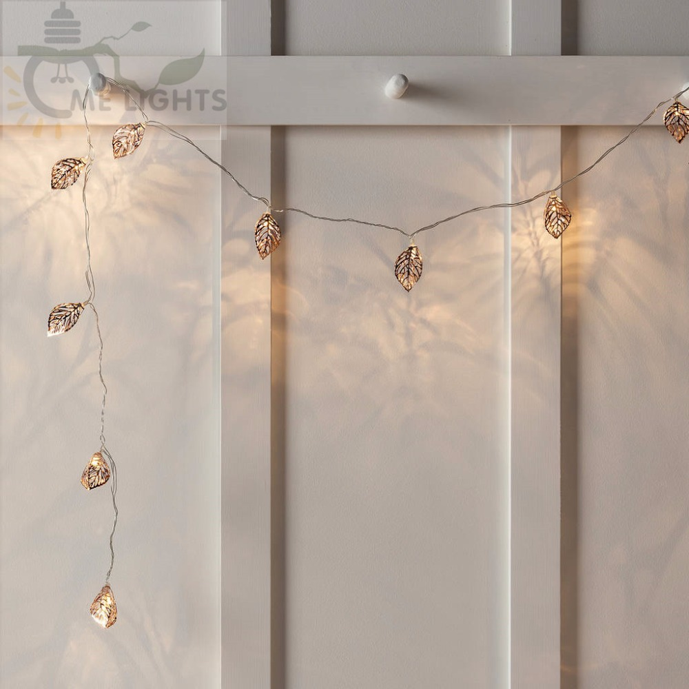 Novelty LED Fairy Lights 20 Metal Leaves String Light Battery Christmas lights for Festival Halloween Party Wedding Decoration