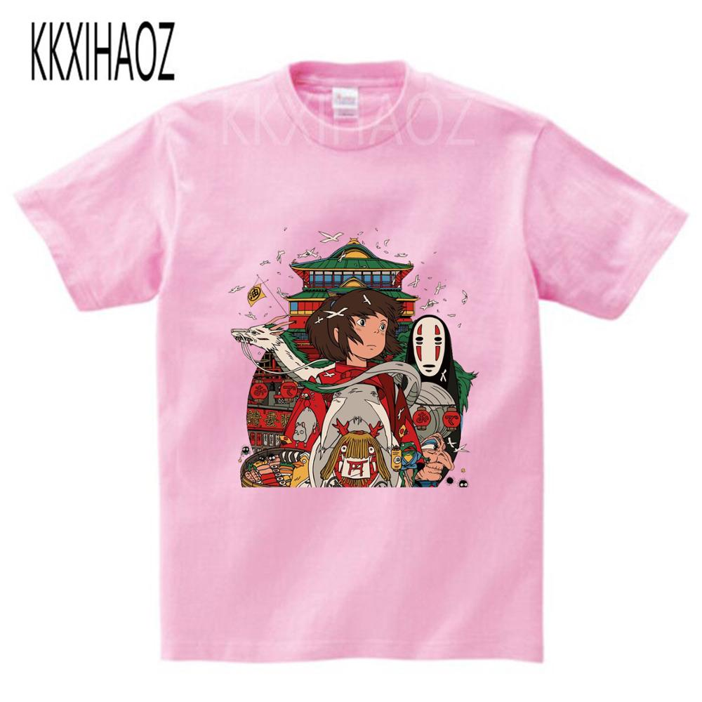 Studio Ghibli Miyazaki Hayao Anime Spirit Away Mask No Face Bank Peach Blossom Cartoon T Shirt For child Boys Girls Kids t shirt(China)