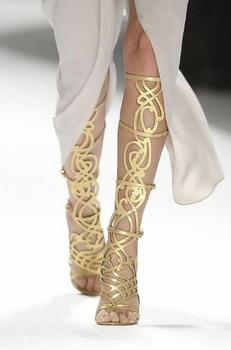 Botas feminina gladiator sandals women knee high gold cuts out bohemian sandals boots high heel peep toe thigh high boots shoe