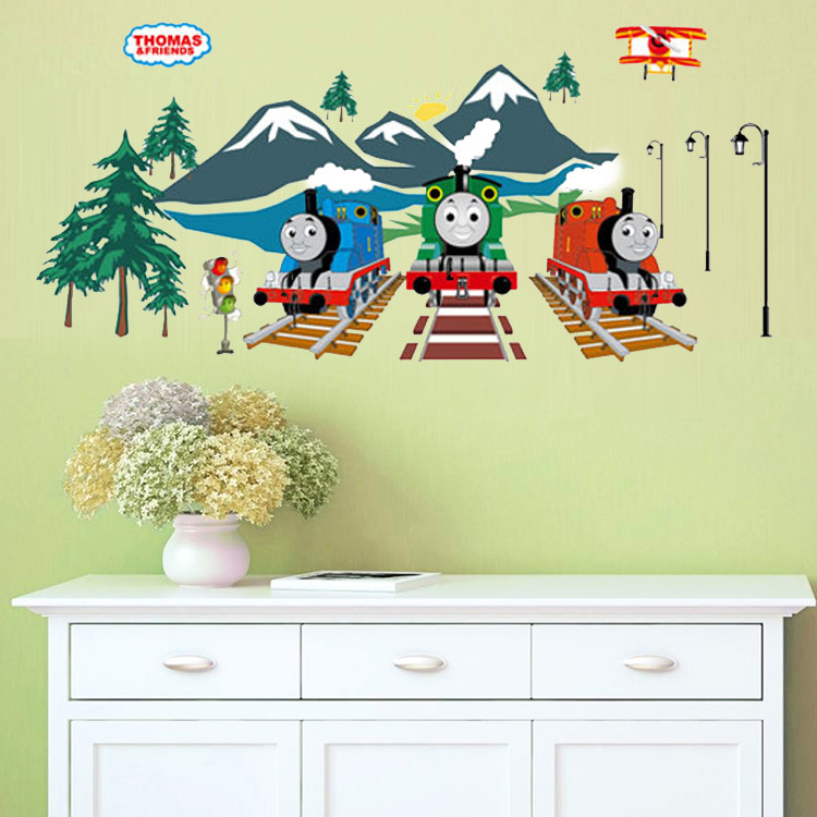 Wall luminous stickers thomas train wall stickers for kid\'s room 3D ...