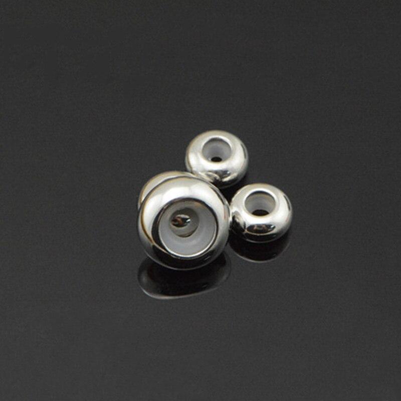 Пробка из нержавеющей стали разделительные бусины с резиновой вставкой сердечника для управления DIY ожерелья и браслеты длина ювелирных изделий