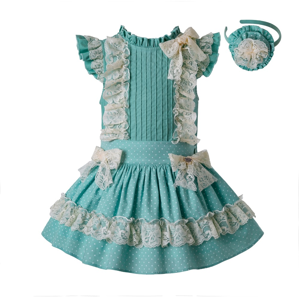 Pre Sale  Summer Mint Green Girls Party Dot Clothes Set Round Collar Flower Cotton Shirt +Lace Skirt And Headwear G DMCS201 C138-in Clothing Sets from Mother & Kids