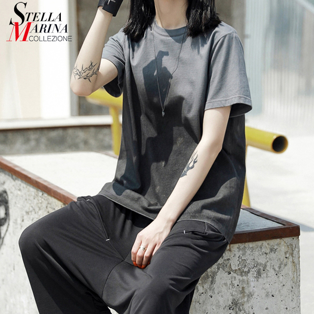 3ddc314e7 New 2019 Korean Style Women Summer Vintage Tee Top Short-Sleeve Female  Stylish T-shirt Casual Cool Streetwear Tshrts Femme J065