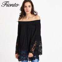 FIONTO 새로운 레이스 셔츠 긴 소매 블라우스 슬래시 목 셔츠 Blusas Feminino 여성 블라우스 탑 2018 패션 F2301