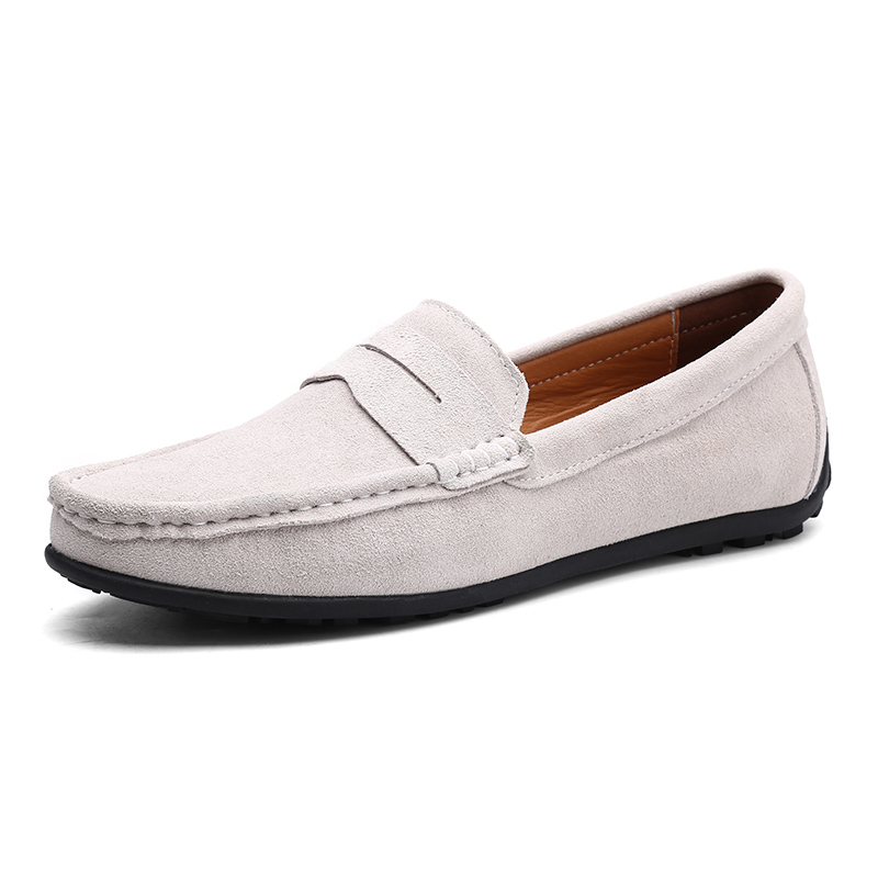Men Casual Shoes Fashion Male Shoes Suede Leather Men Loafers Leisure Moccasins Slip On Men's Driving Shoes Large Size 6.5-11 #5