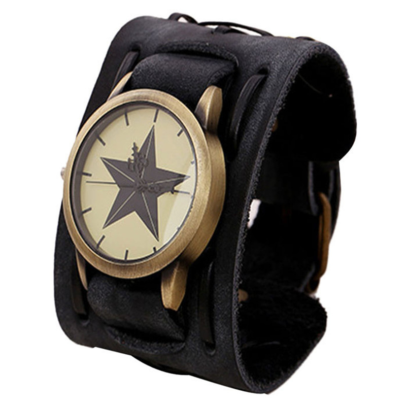 New Style Retro Punk Rock Brown Big Wide Leather Bracelet Cuff Men Watch Cool