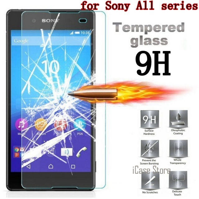 9H 0.26 Tempered Glass Film Explosion Proof Screen Protector For Sony Xperia E3 E4 E4G E5 M2 M4 M5 C3 C4 C5 T2 T3 + Cleaning Kit