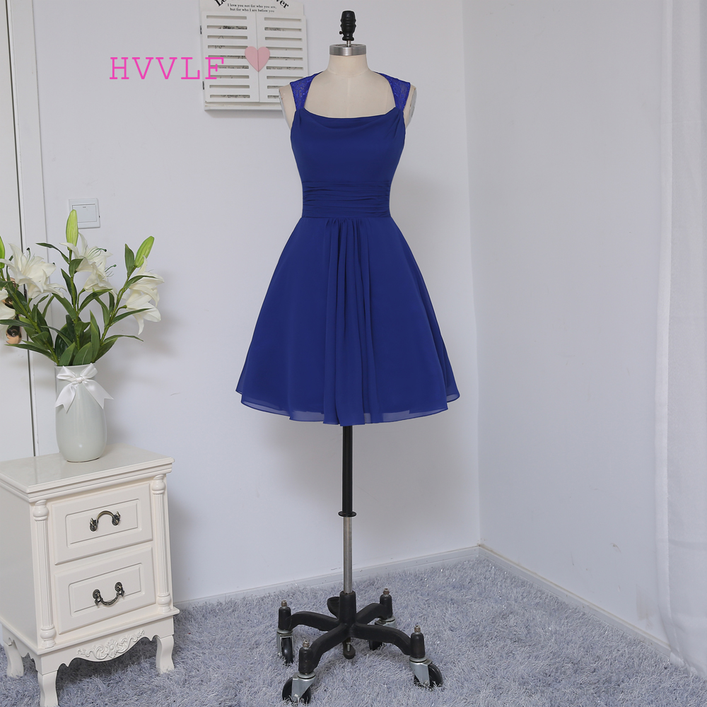 New 2019 Cheap   Bridesmaid     Dresses   Under 50 A-line Scoop Short Mini Royal Blue Chiffon Lace Wedding Party   Dresses